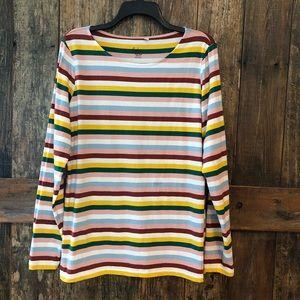 Boden, 12, Beige Striped Long Sleeve T-Shirt